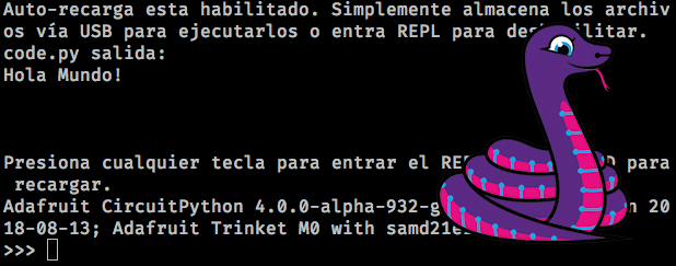 CircuitPython REPL in Spanish with Blinka