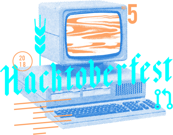 Hacktoberfest logo. Old computer with Bavarian style text