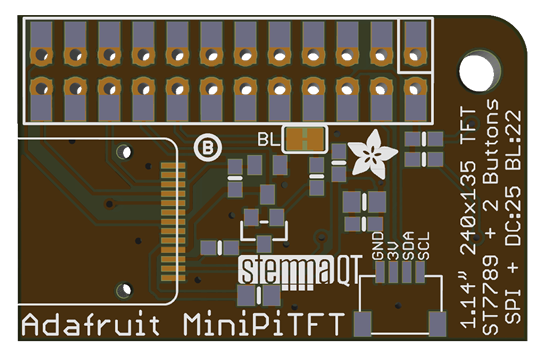 A mini PiTFT display with STEMMA QT connector