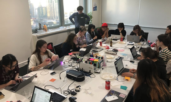 MicroPython Workshop presenting to PyLadies