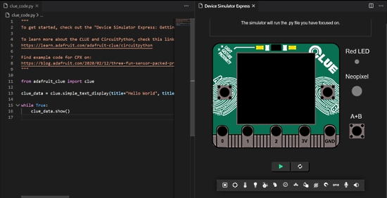 Device Simulator Express upgrade with Adafruit CLUE and Python