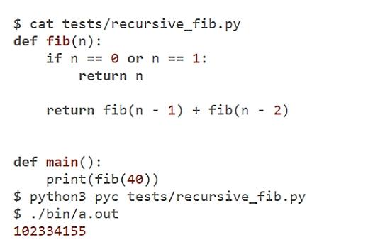 Python to C compiler