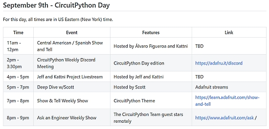CircuitPython Day Schedule
