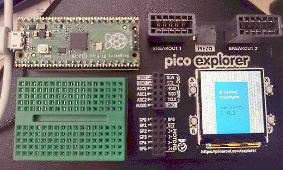 Use the screen on the Pimoroni Pico Explorer with CircuitPython.