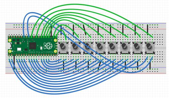 8 rotary encoders on Pico