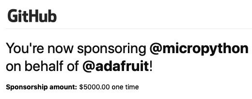 Adafruit sponsors MicroPython on GitHub
