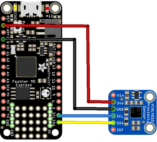 Feather M0 and VCNL4010 proximity and ambient light sensor